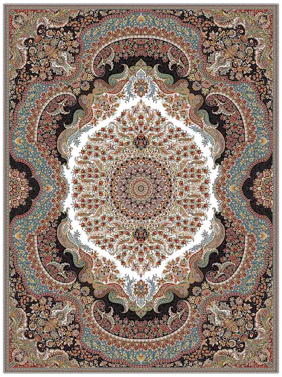 فرش (25014) اکریلیک - 8 رنگ - 700 شانه - كرم - تراکم 2550
