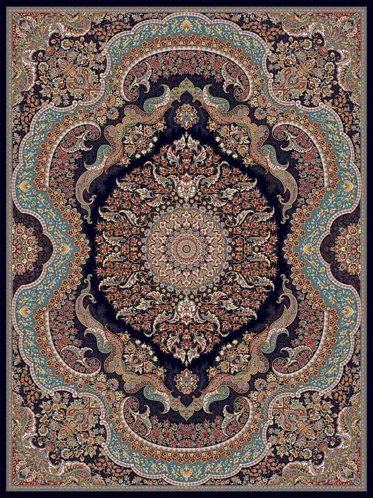 فرش (25014) اکریلیک - 8 رنگ - 700 شانه - سورمه اي - تراکم 2550