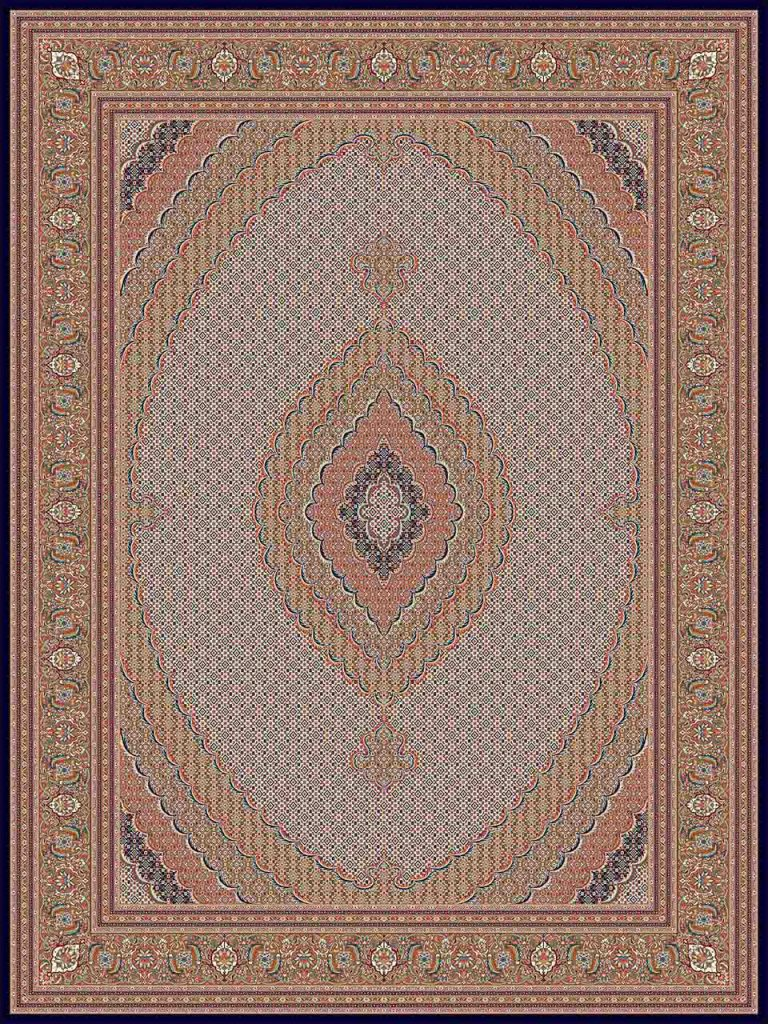 فرش (25015) اکریلیک - 8 رنگ - 700 شانه - كرم - تراکم 2550