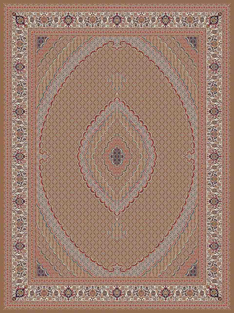 فرش (25015) اکریلیک - 8 رنگ - 700 شانه - گردويي - تراکم 2550