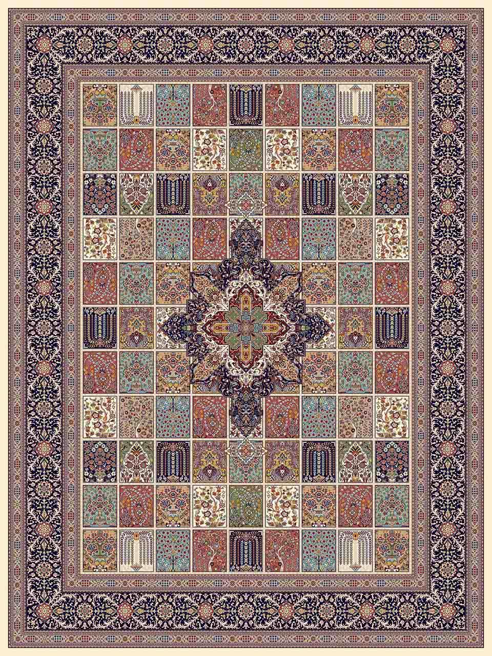 فرش (25017) اکریلیک - 8 رنگ - 700 شانه - كرم - تراکم 2550