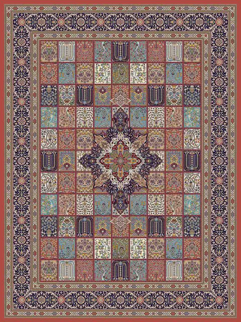 فرش (25017) اکریلیک - 8 رنگ - 700 شانه - گلبهي - تراکم 2550