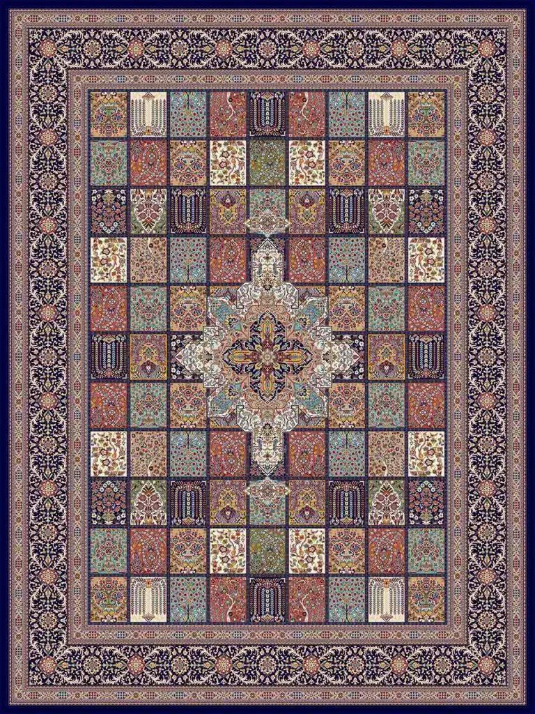 فرش (25017) اکریلیک - 8 رنگ - 700 شانه - سورمه اي - تراکم 2550