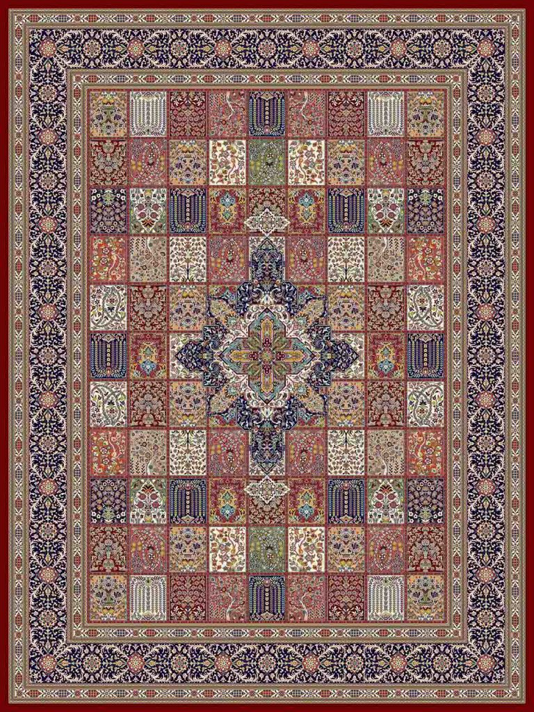 فرش (25017) اکریلیک - 8 رنگ - 700 شانه - لاكي - تراکم 2550
