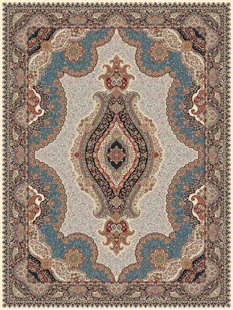 فرش (25018) اکریلیک - 8 رنگ - 700 شانه - كرم - تراکم 2550
