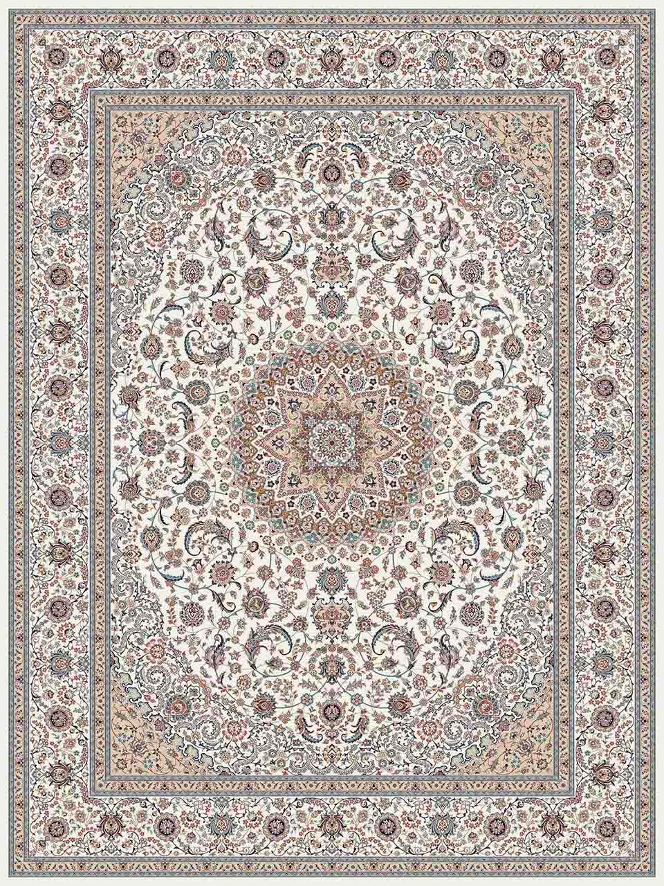 فرش (25019) اکریلیک - 8 رنگ - 700 شانه - كرم - تراکم 2550