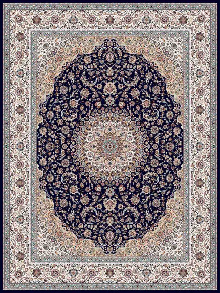فرش (25019) اکریلیک - 8 رنگ - 700 شانه - سورمه اي - تراکم 2550
