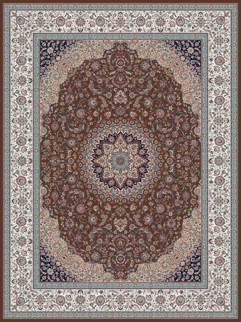 فرش (25019) اکریلیک - 8 رنگ - 700 شانه - گردويي - تراکم 2550