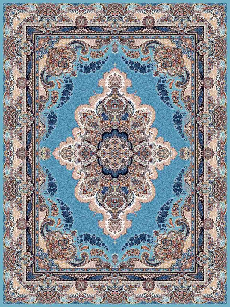 فرش (25027) اکریلیک - 8 رنگ - 700 شانه - آبي - تراکم 2550