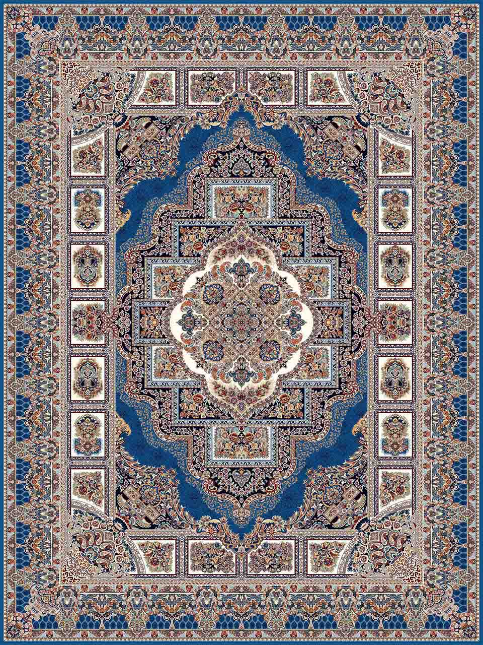 فرش (25032) اکریلیک - 8 رنگ - 700 شانه - آبي تيره - تراکم 2550