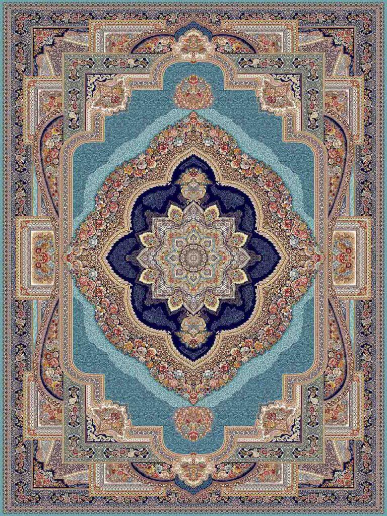 فرش (25034) اکریلیک - 8 رنگ - 700 شانه - آبي - تراکم 2550