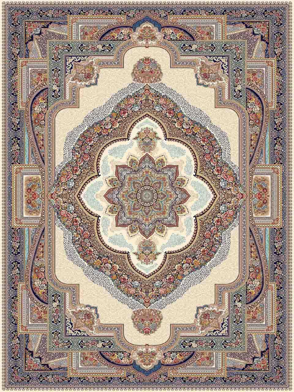 فرش (25034) اکریلیک - 8 رنگ - 700 شانه - كرم - تراکم 2550
