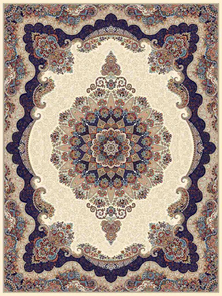 فرش (25035) اکریلیک - 8 رنگ - 700 شانه - كرم - تراکم 2550