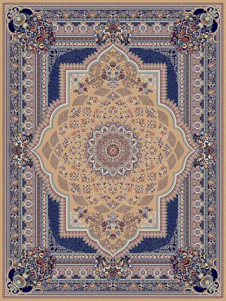 فرش (25036) اکریلیک - 8 رنگ - 700 شانه - بژ - تراکم 2550