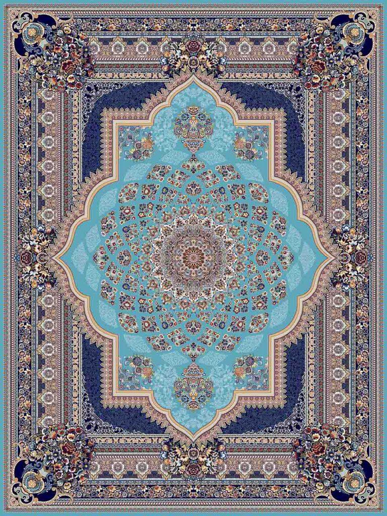 فرش (25036) اکریلیک - 8 رنگ - 700 شانه - آبي - تراکم 2550