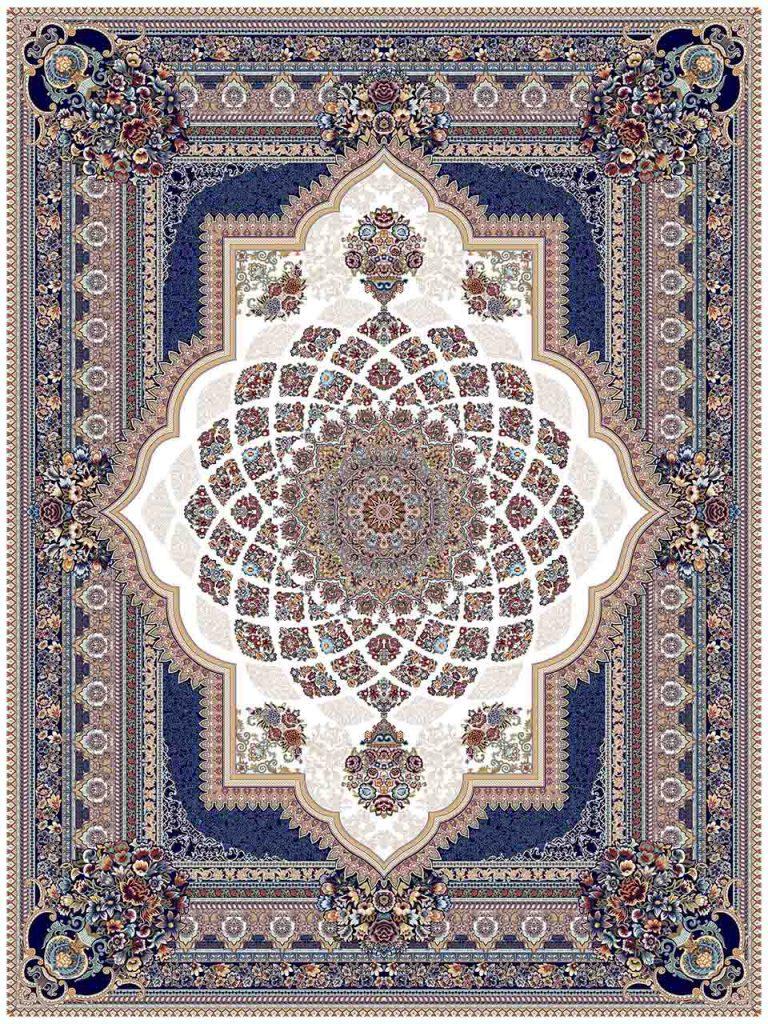 فرش (25036) اکریلیک - 8 رنگ - 700 شانه - كرم - تراکم 2550