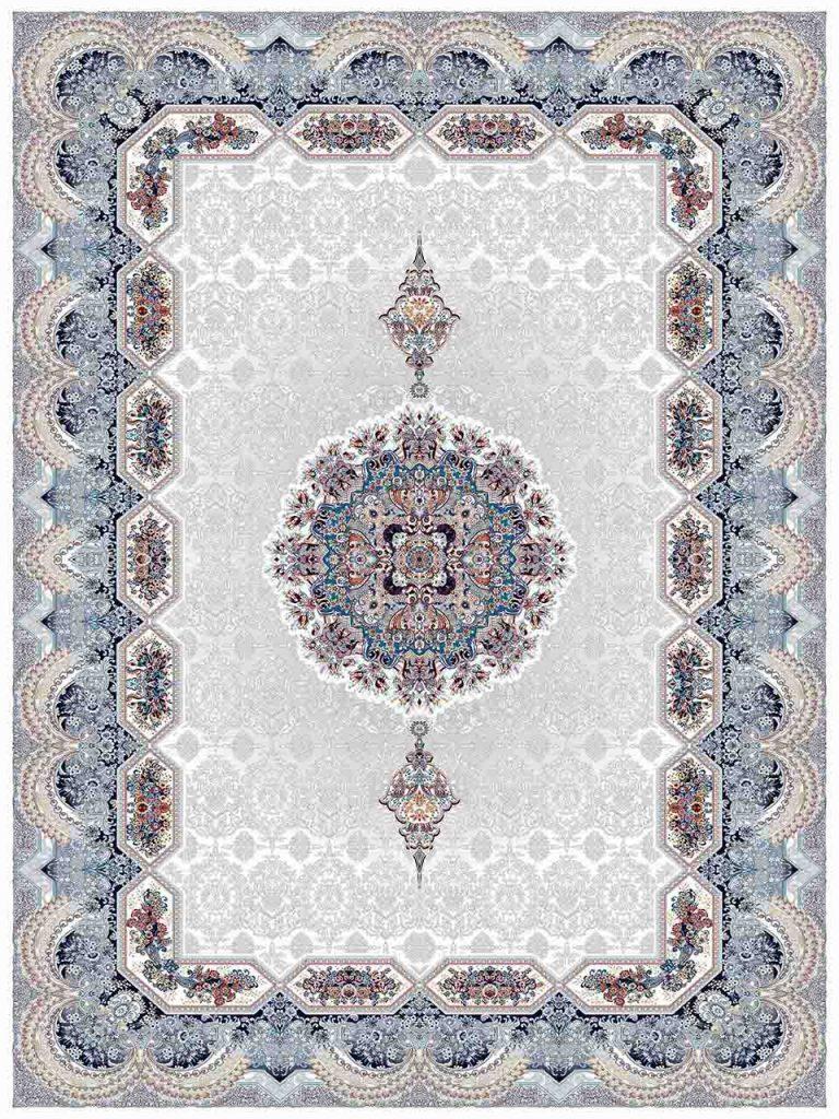 فرش (25037) اکریلیک - 8 رنگ - 700 شانه - كرم - تراکم 2550