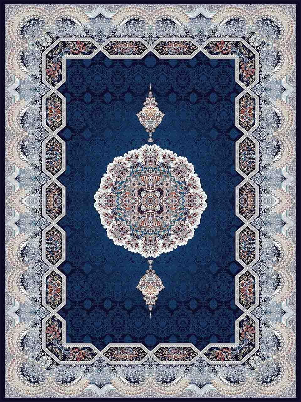 فرش (25037) اکریلیک - 8 رنگ - 700 شانه - سورمه اي - تراکم 2550