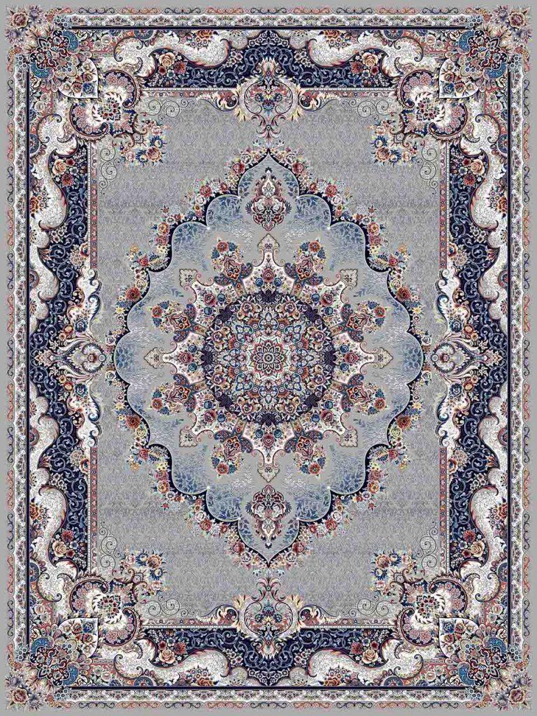 فرش (25038) اکریلیک - 8 رنگ - 700 شانه - طوسي - تراکم 2550