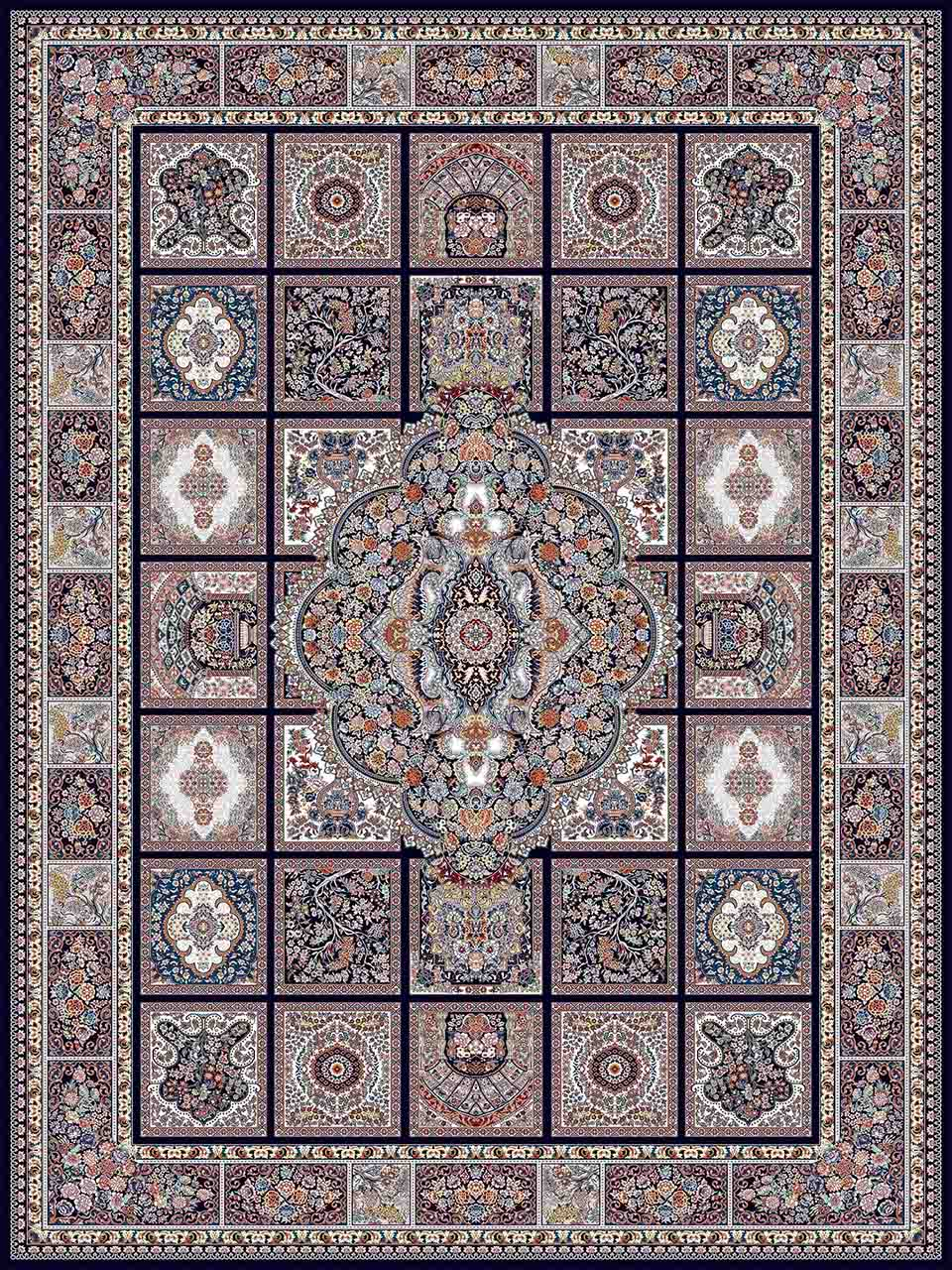 فرش (25040) اکریلیک - 8 رنگ - 700 شانه - سورمه اي - تراکم 2550