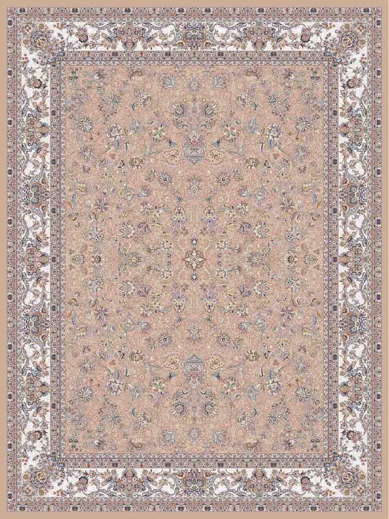 فرش (25041) اکریلیک - 8 رنگ - 700 شانه - بژ - تراکم 2550