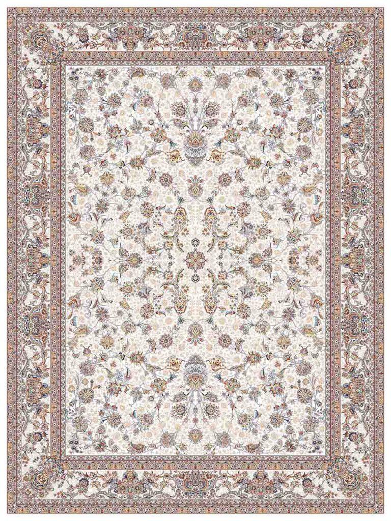 فرش (25041) اکریلیک - 8 رنگ - 700 شانه - كرم - تراکم 2550