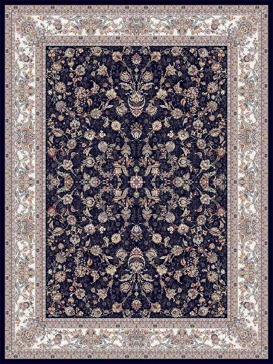 فرش (25041) اکریلیک - 8 رنگ - 700 شانه - سورمه اي - تراکم 2550