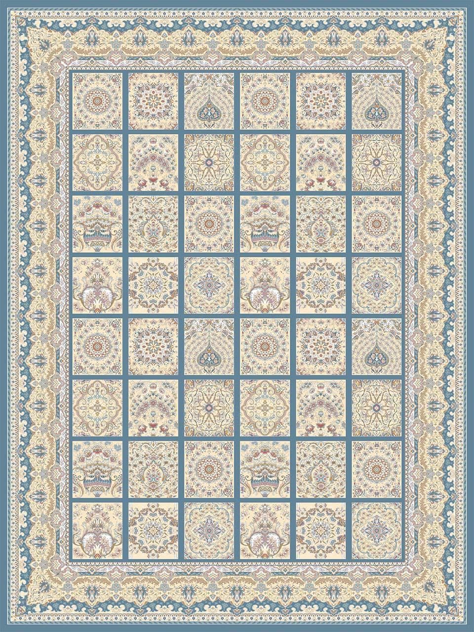 فرش (26001) اکریلیک - 8 رنگ - 700 شانه - آبي تيره - تراکم 2550