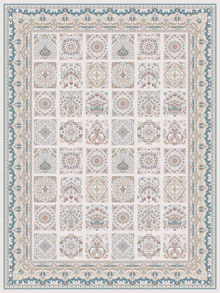 فرش (26001) اکریلیک - 8 رنگ - 700 شانه - كرم - تراکم 2550