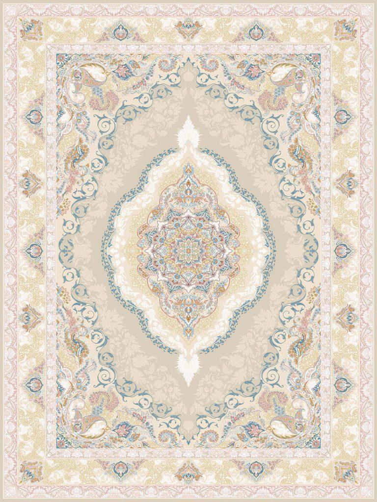 فرش (26002) اکریلیک - 8 رنگ - 700 شانه - كرم - تراکم 2550