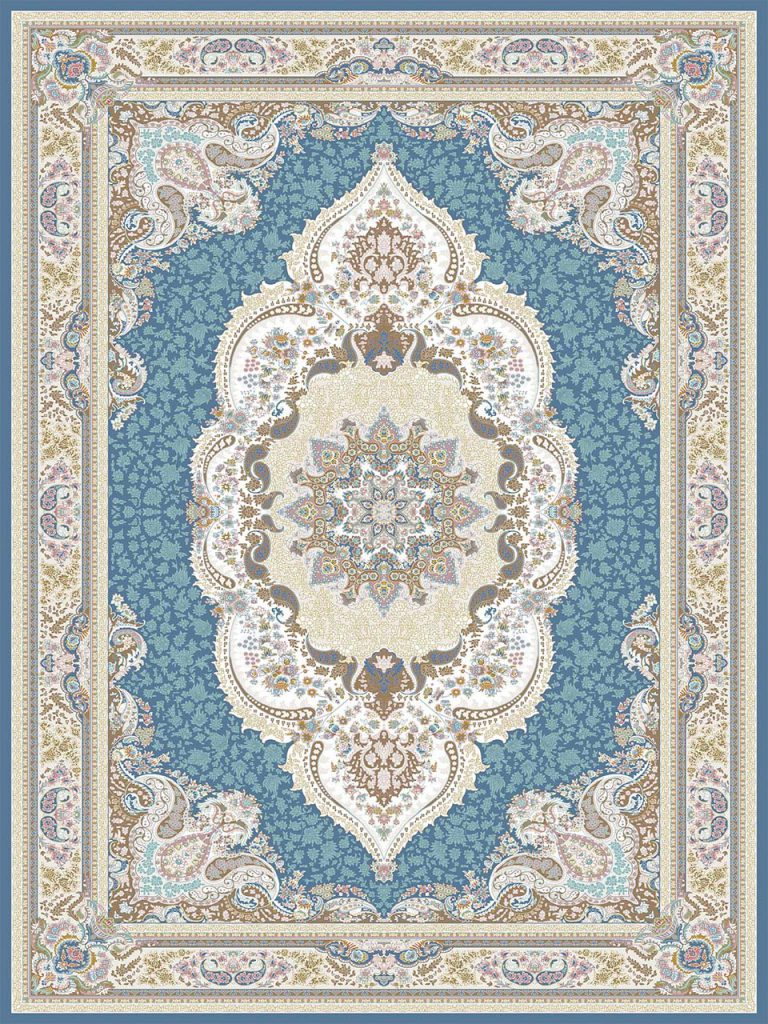 فرش (26004) اکریلیک - 8 رنگ - 700 شانه - آبي تيره - تراکم 2550