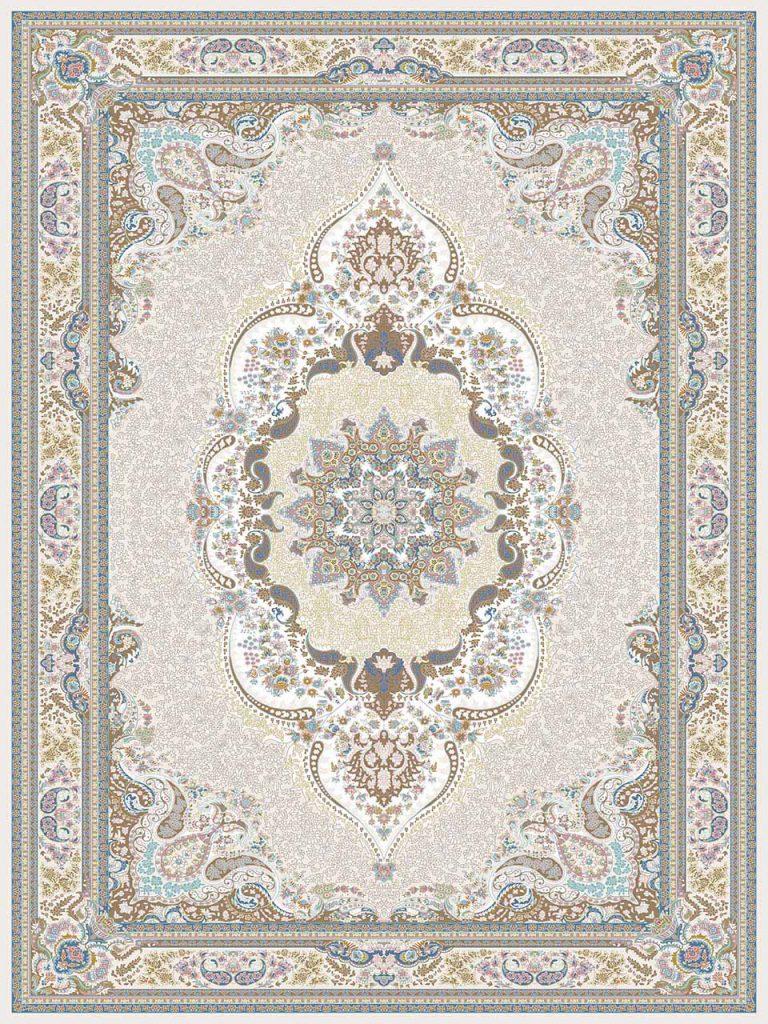 فرش (26004) اکریلیک - 8 رنگ - 700 شانه - کرم شکلاتی - تراکم 2550