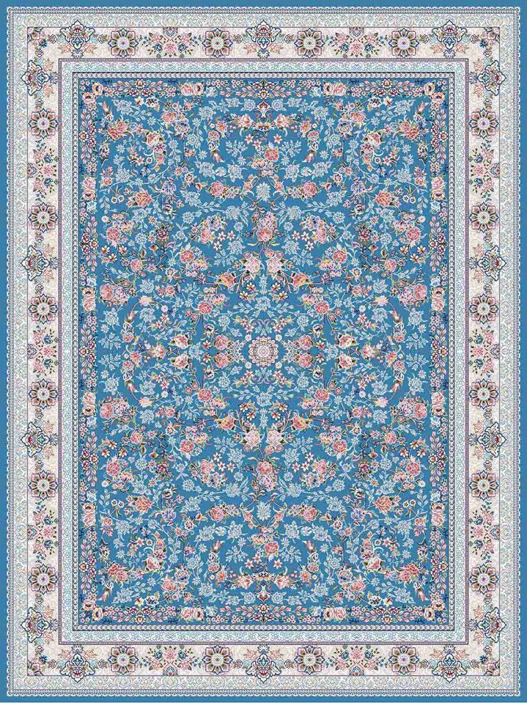 فرش (18300) اکریلیک - 8 رنگ - 500 شانه - آبی- تراکم 1200