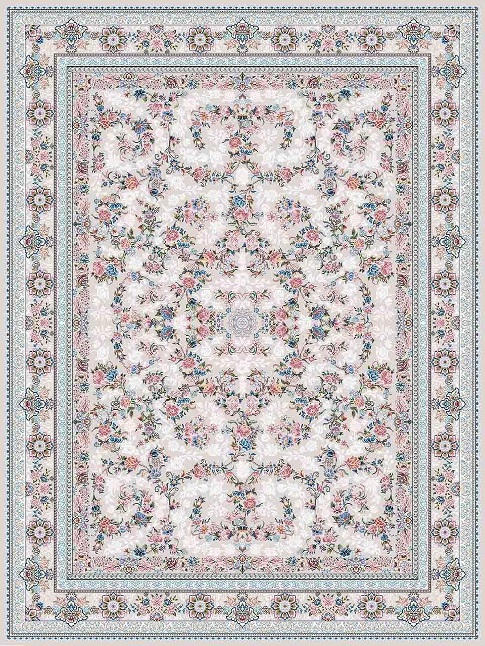 فرش (18300) اکریلیک - 8 رنگ - 500 شانه - کرم- تراکم 1200