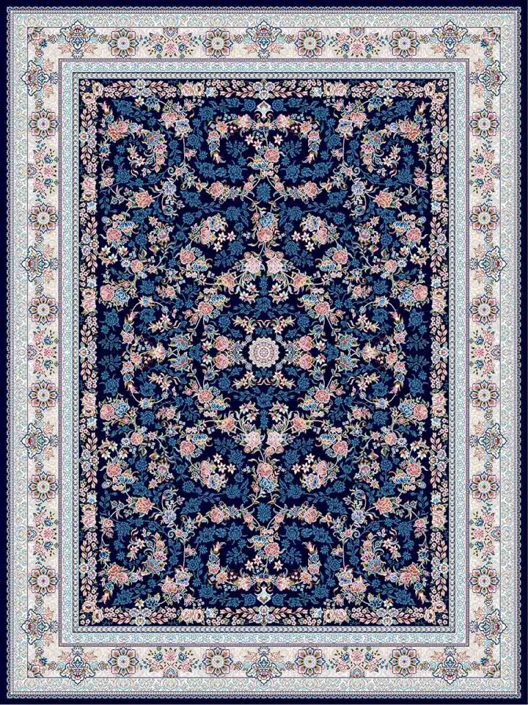فرش (18300) اکریلیک - 8 رنگ - 500 شانه - سورمه ای - تراکم 1200
