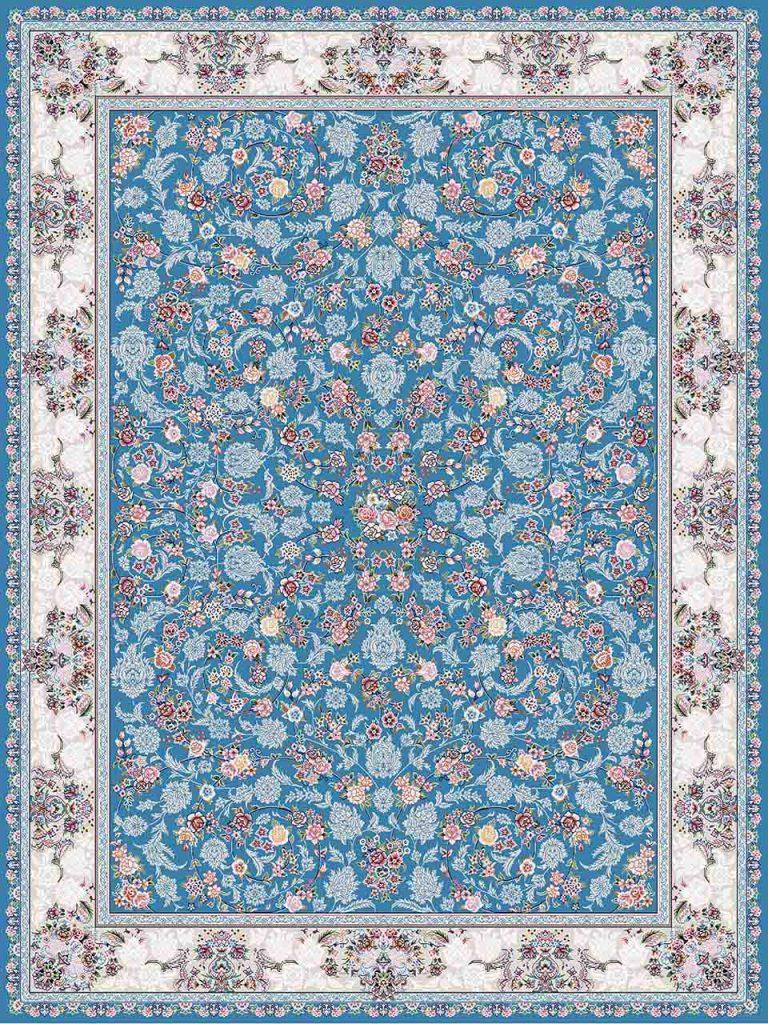 فرش (18301) اکریلیک - 8 رنگ - 500 شانه - آبی- تراکم 1200