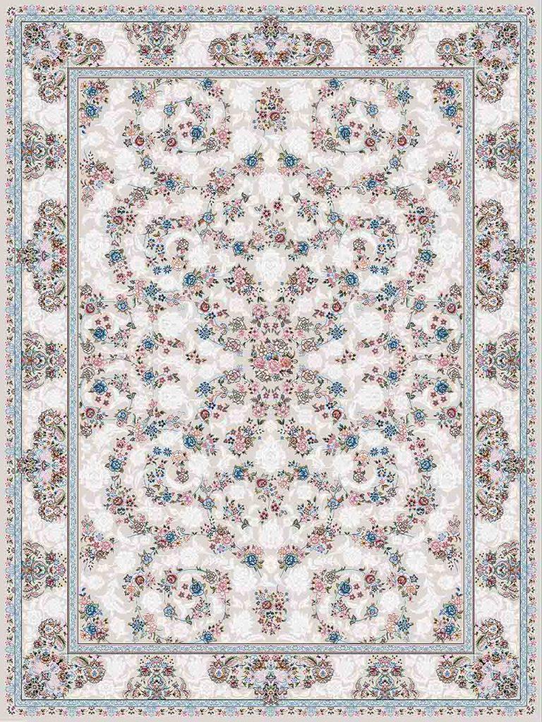 فرش (18301) اکریلیک - 8 رنگ - 500 شانه - کرم- تراکم 1200