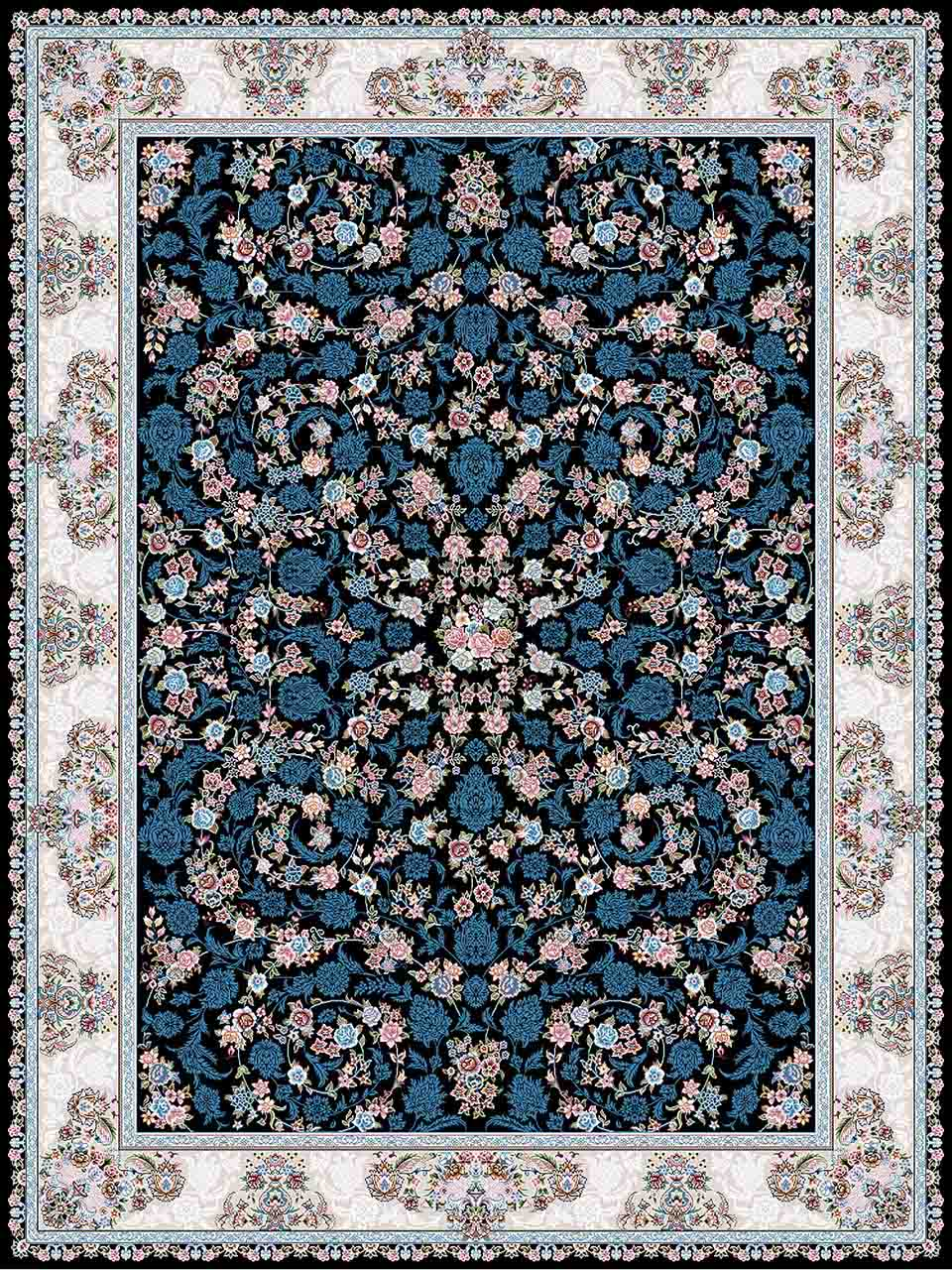 فرش (18301) اکریلیک - 8 رنگ - 500 شانه - سورمه ای- تراکم 1200