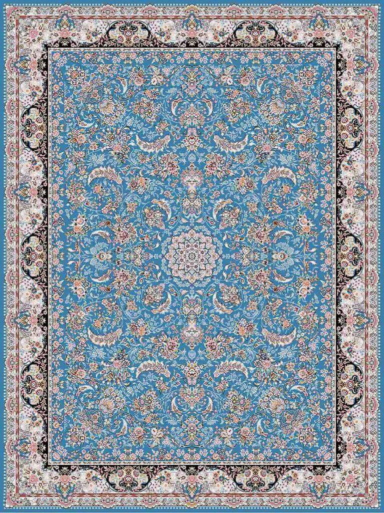 فرش (18302) اکریلیک - 8 رنگ - 500 شانه - آبی- تراکم 1200