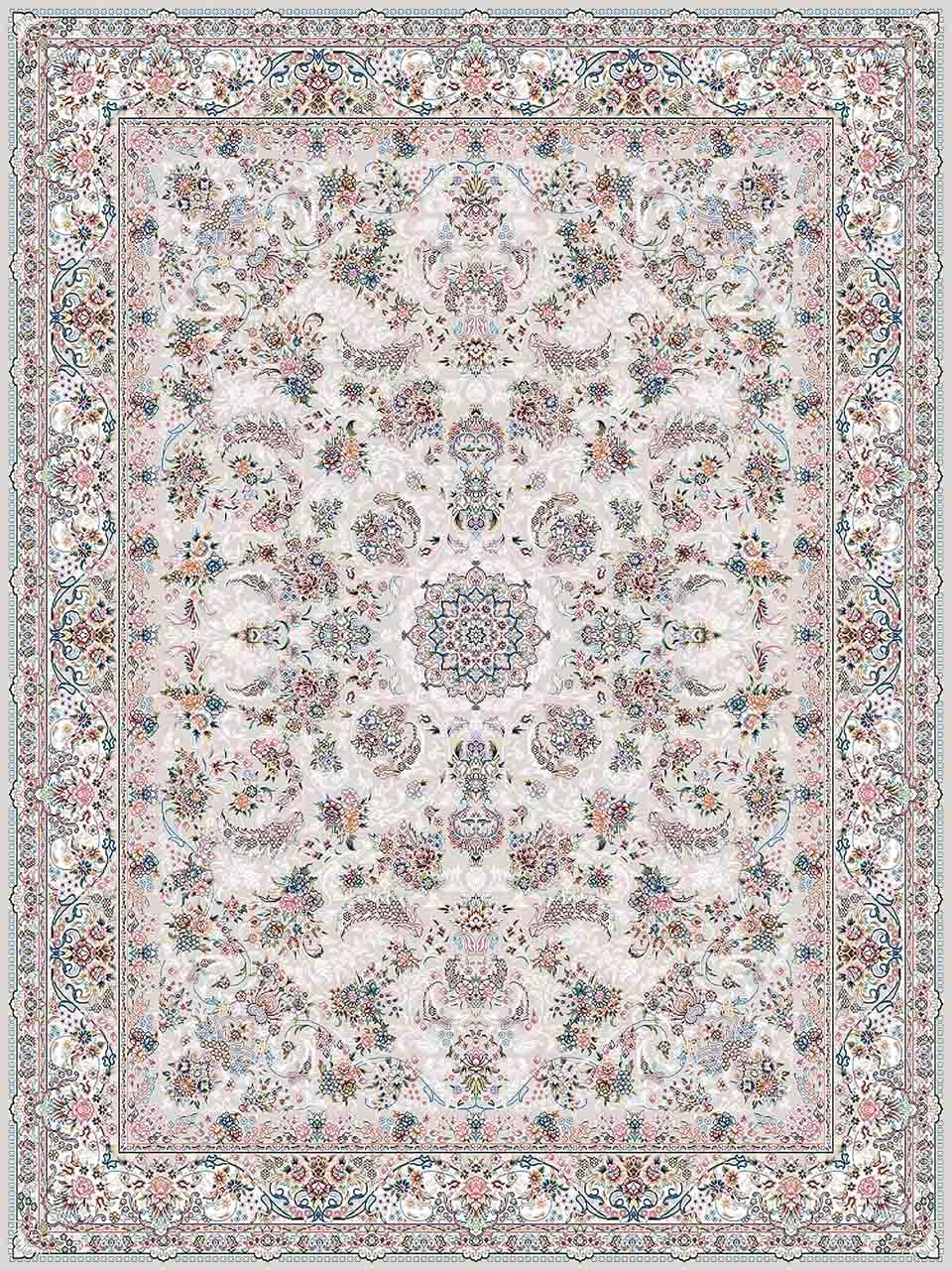 فرش (18302) اکریلیک - 8 رنگ - 500 شانه - کرم- تراکم 1200