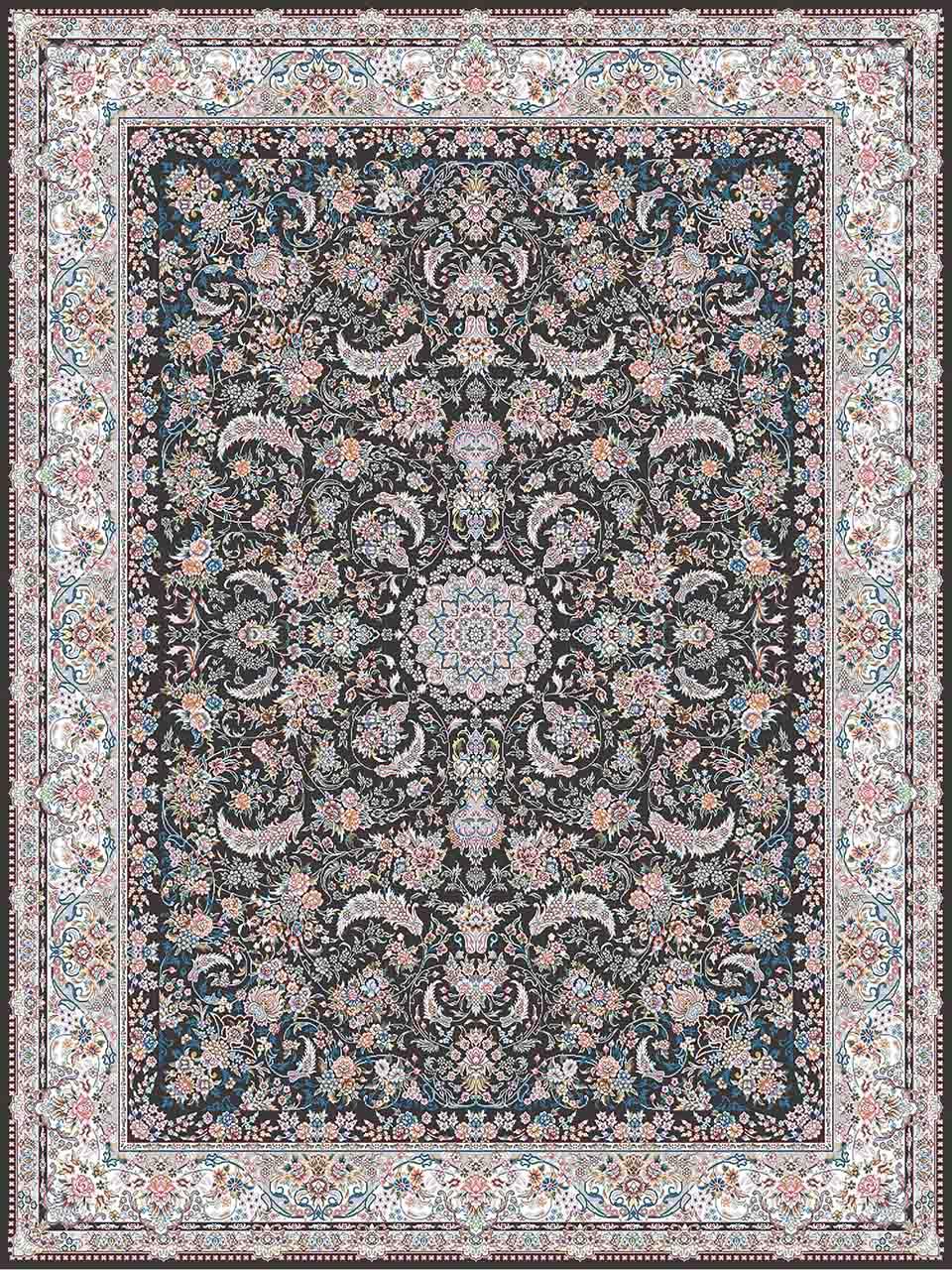 فرش (18302) اکریلیک - 8 رنگ - 500 شانه - دودی- تراکم 1200