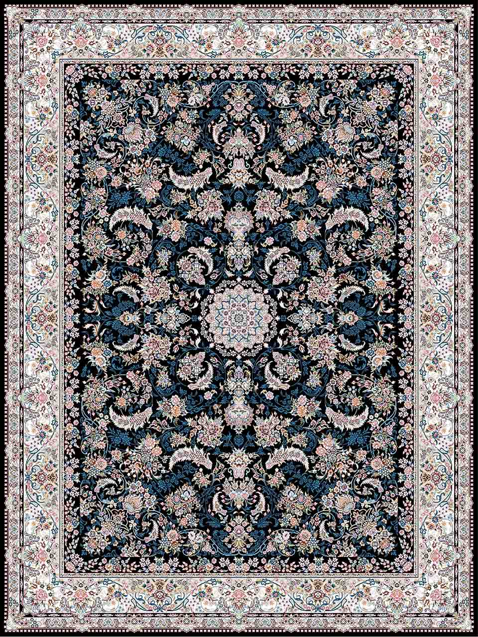 فرش (18302) اکریلیک - 8 رنگ - 500 شانه - سورمه ای- تراکم 1200
