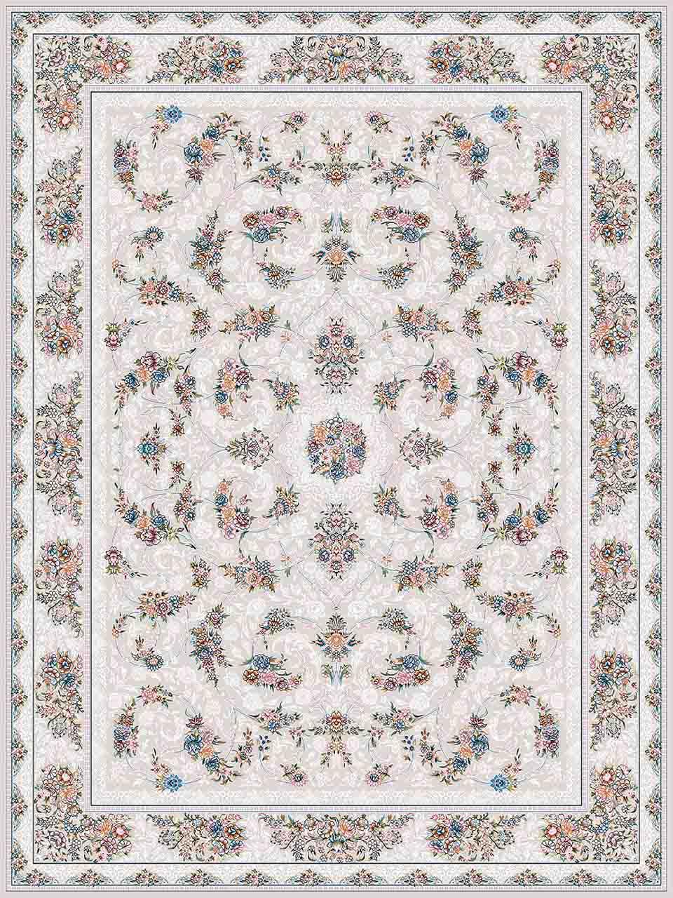 فرش (18303) اکریلیک - 8 رنگ - 500 شانه - کرم - تراکم 1200