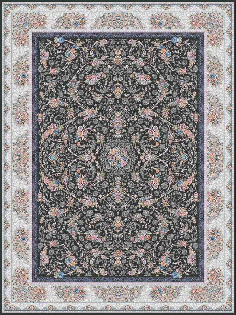 فرش (18303) اکریلیک - 8 رنگ - 500 شانه - دودی - تراکم 1200