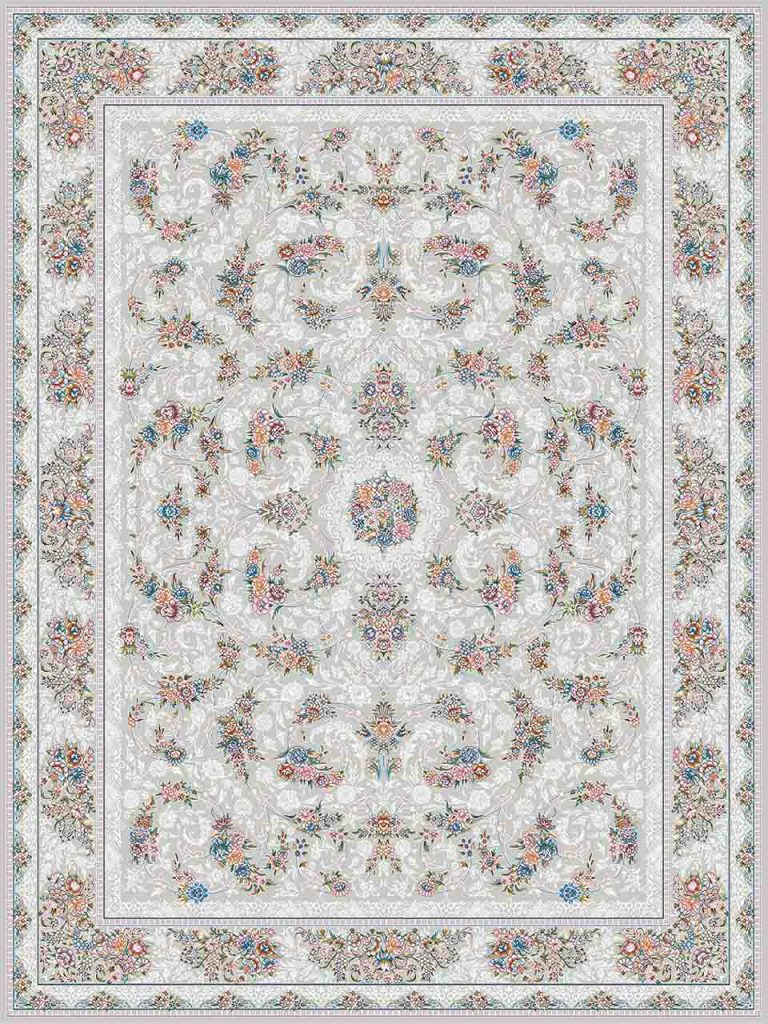 فرش (18303) اکریلیک - 8 رنگ - 500 شانه - طوسی- تراکم 1200