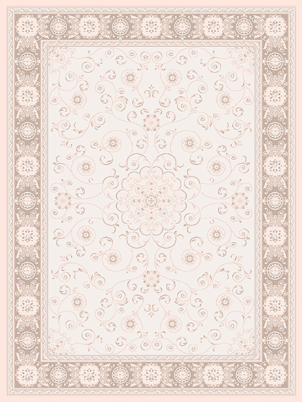 فرش (1901) پلی پروپیلن - 8 رنگ - 410 شانه - کرم - تراکم 1000