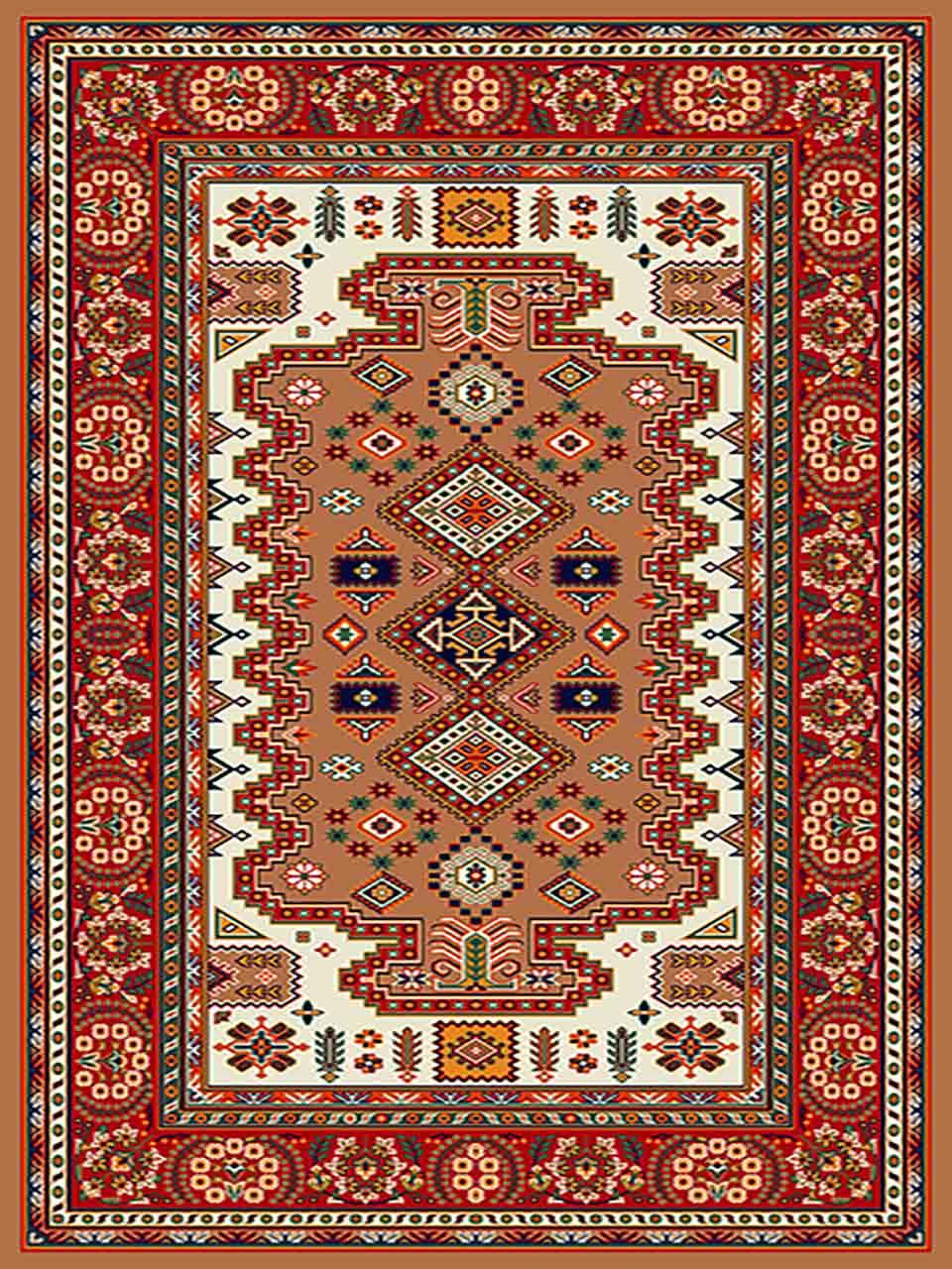 فرش (255) پلی پروپیلن - 8 رنگ - 320 شانه - بژ - تراکم 960