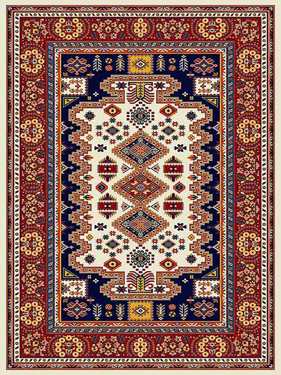 فرش (255) پلی پروپیلن - 8 رنگ - 320 شانه - کرم - تراکم 960