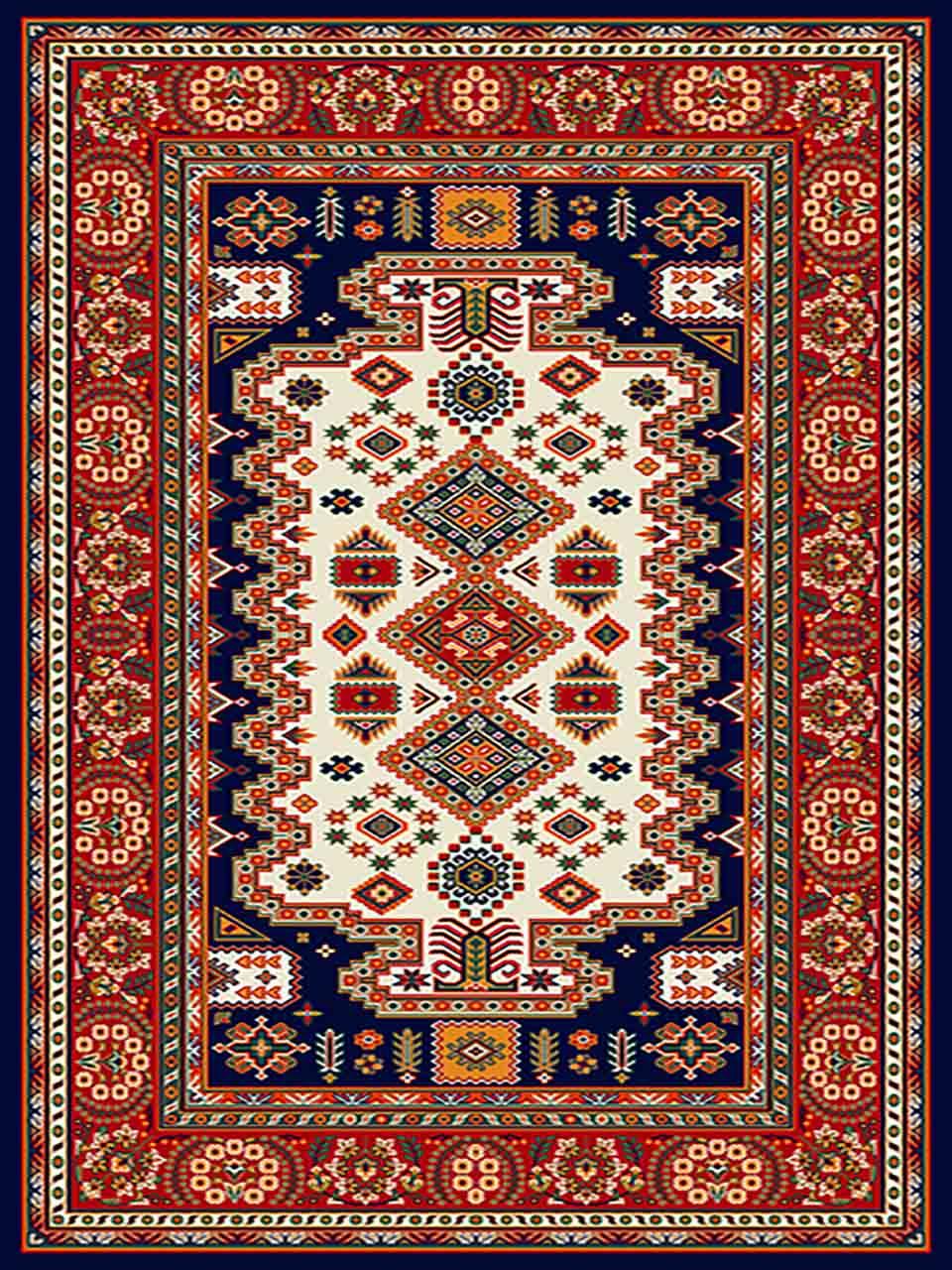 فرش (255) پلی پروپیلن - 8 رنگ - 320 شانه - سورمه ای - تراکم 960