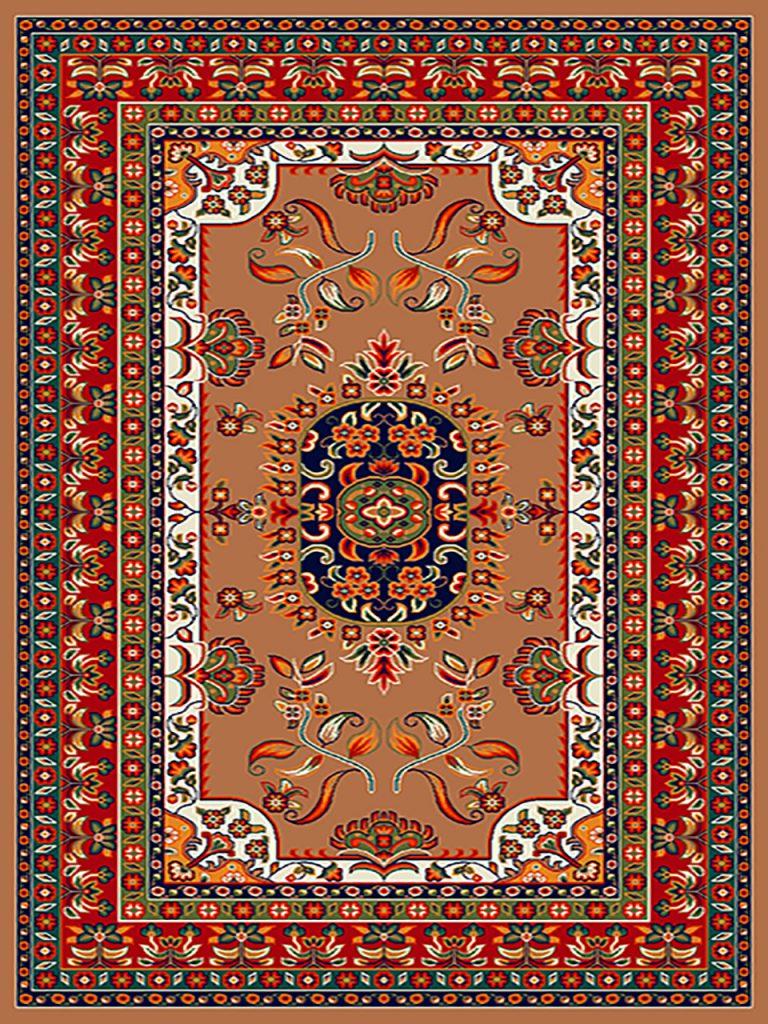 فرش (256) پلی پروپیلن - 8 رنگ - 320 شانه - بژ - تراکم 960